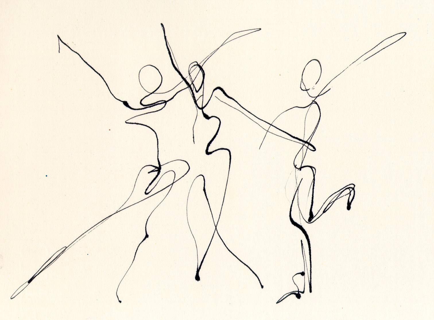 1512x1116 3 Dancers Line Drawing Chris Carter Artist Dip Pen Ink Web Chris