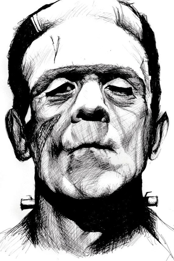 570x856 Items Similar To Ballpoint Pen Ink Frankenstein Boris Karloff