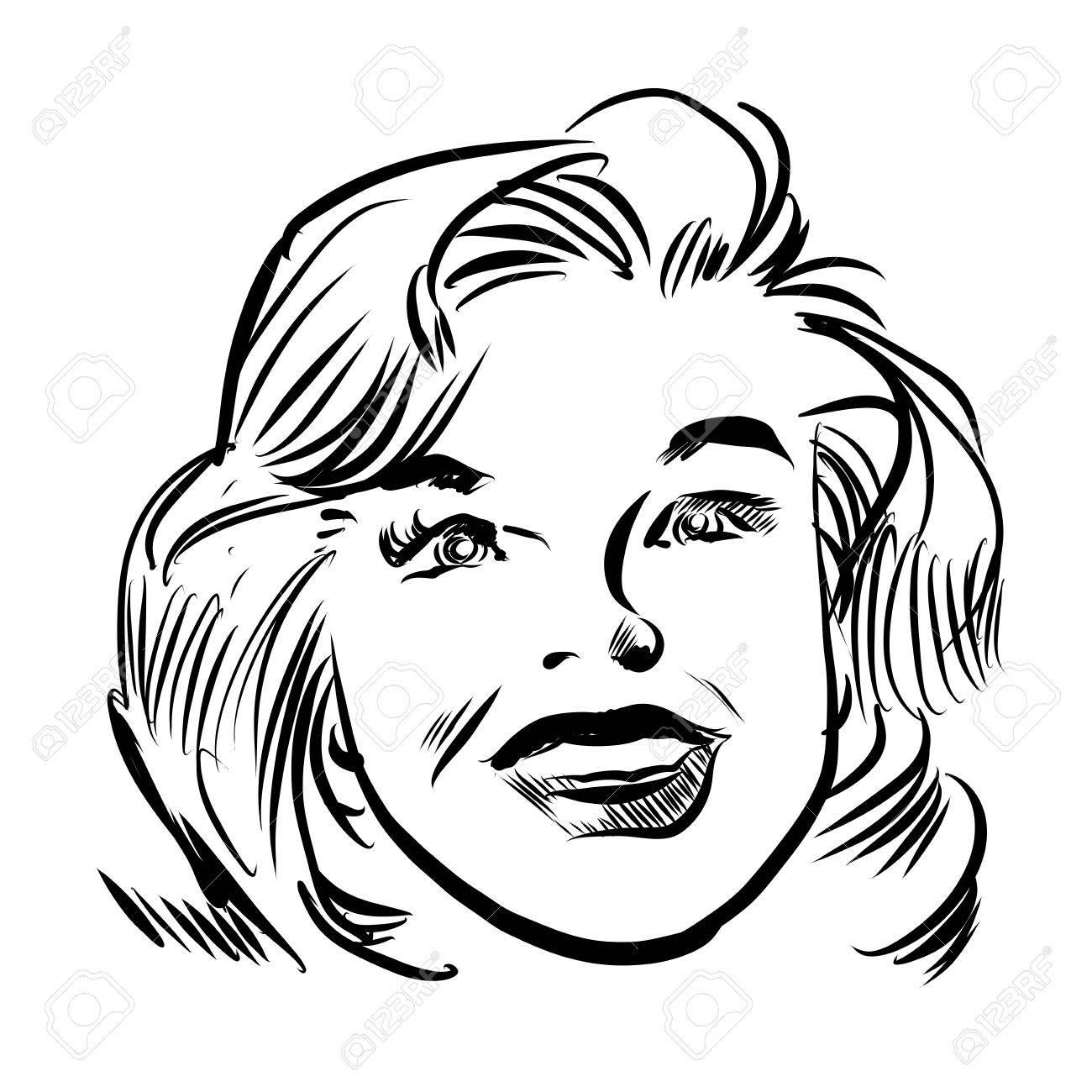 1300x1300 Vintage Talking Woman Portrait, Hand Drawn Comic Style By Pen