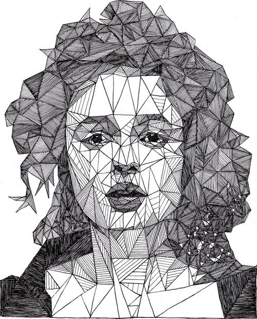 500x621 Geometric Portrait Art Portraits, Drawings