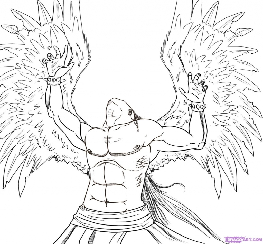 1024x950 Drawing Of Angels Draw Michael The Fallen Angel Step Step Drawing