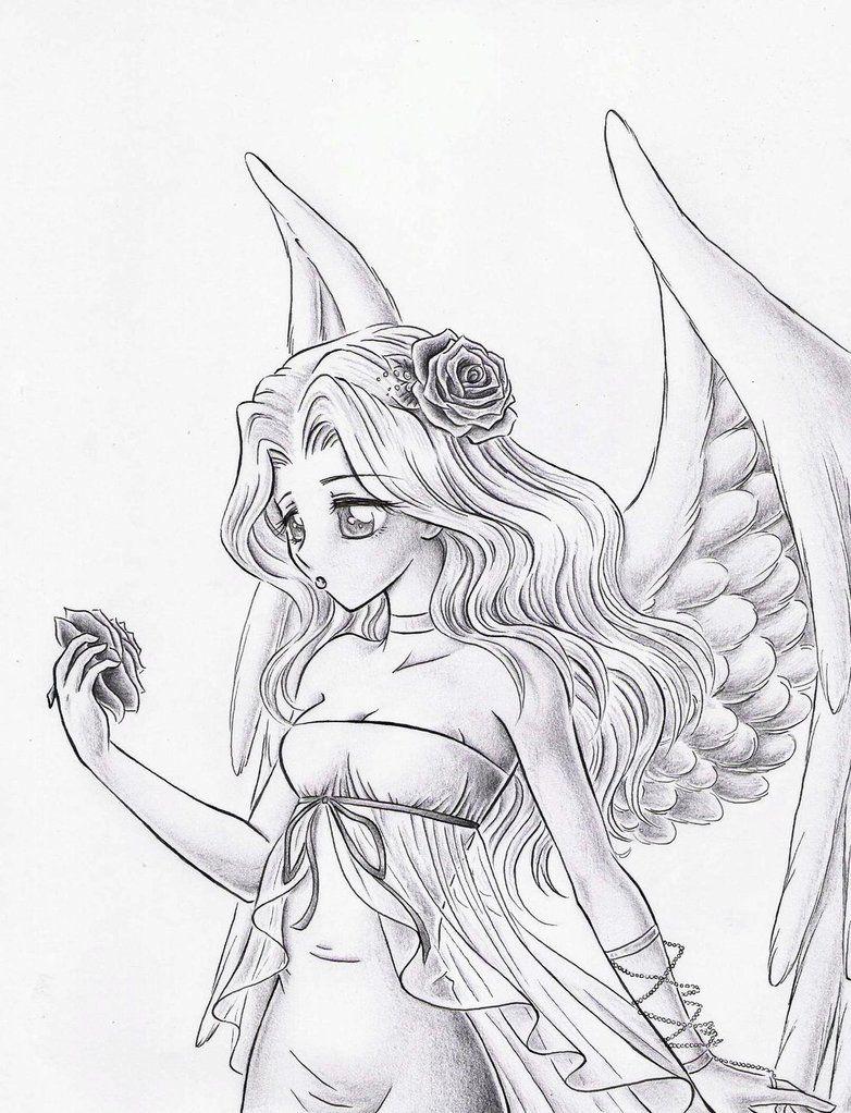 782x1022 White Angel Sketch By ~dayserosi On Fairy And Angel