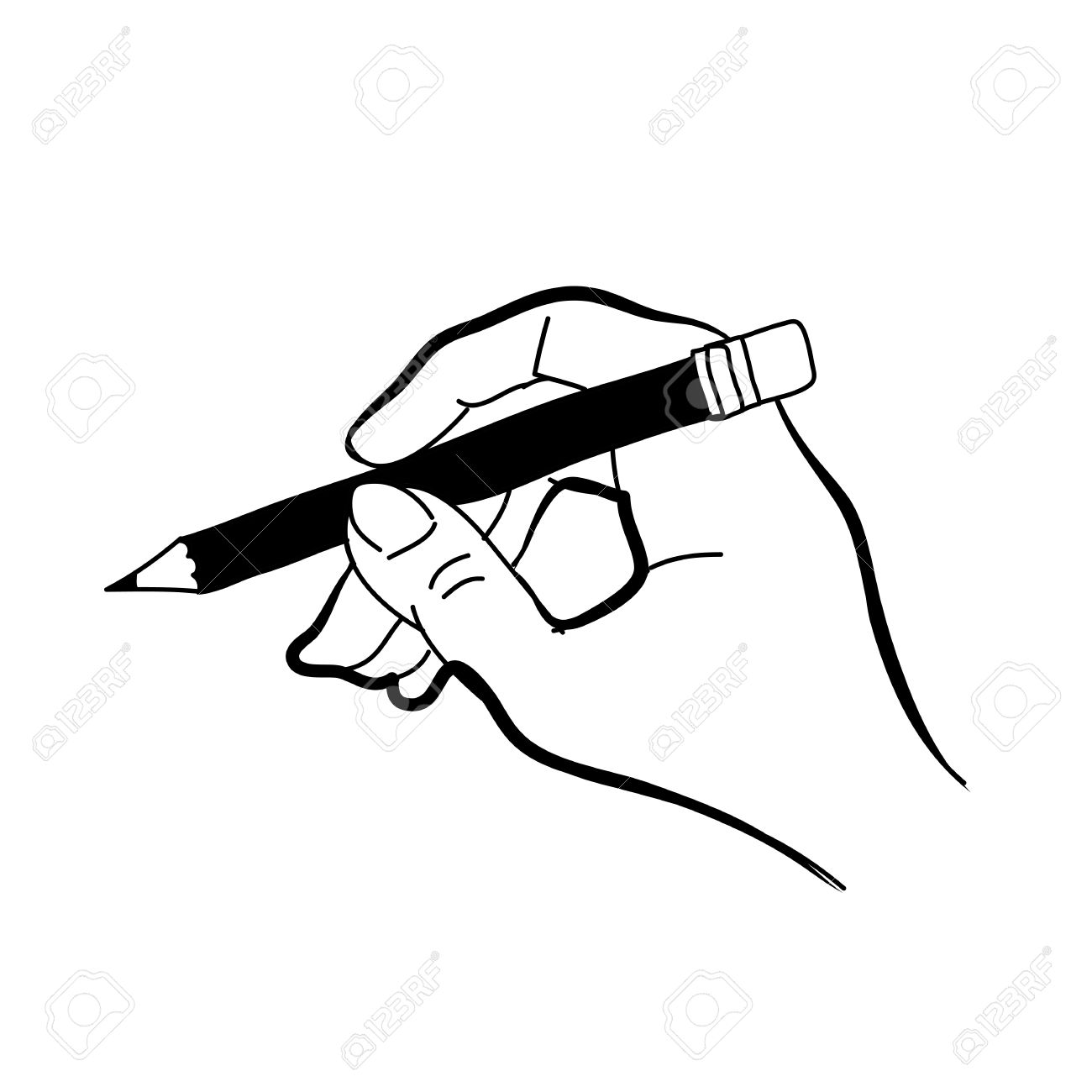 1300x1300 Hand Drawing Freehand Sketch Hand Holding Pencil For Design