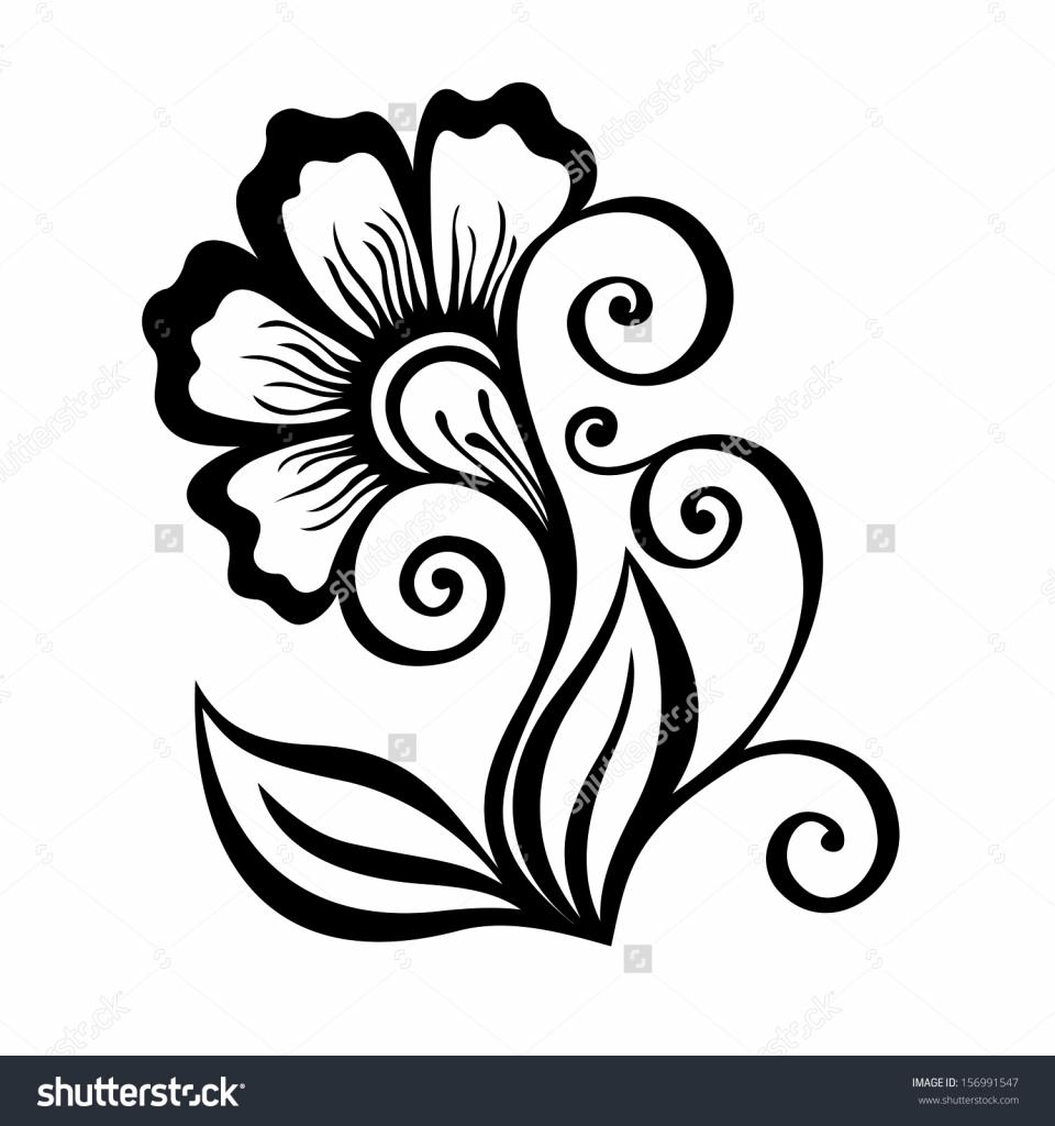 960x1024 Pencil Sketch Flower Design