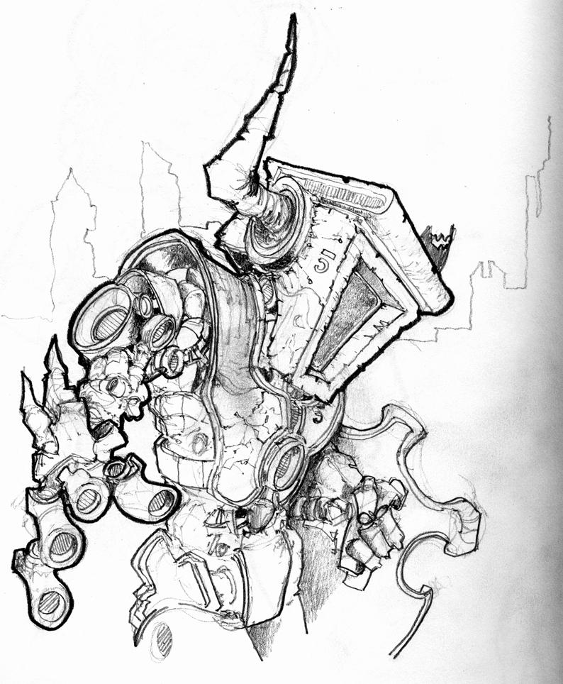 794x964 Robot Dragon Slayer Sketch