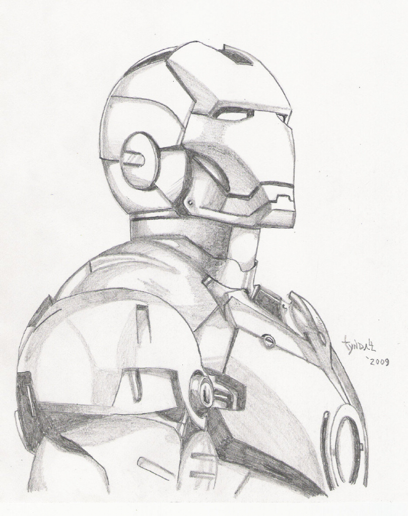 810x1024 Iron Man Pencil Sketch