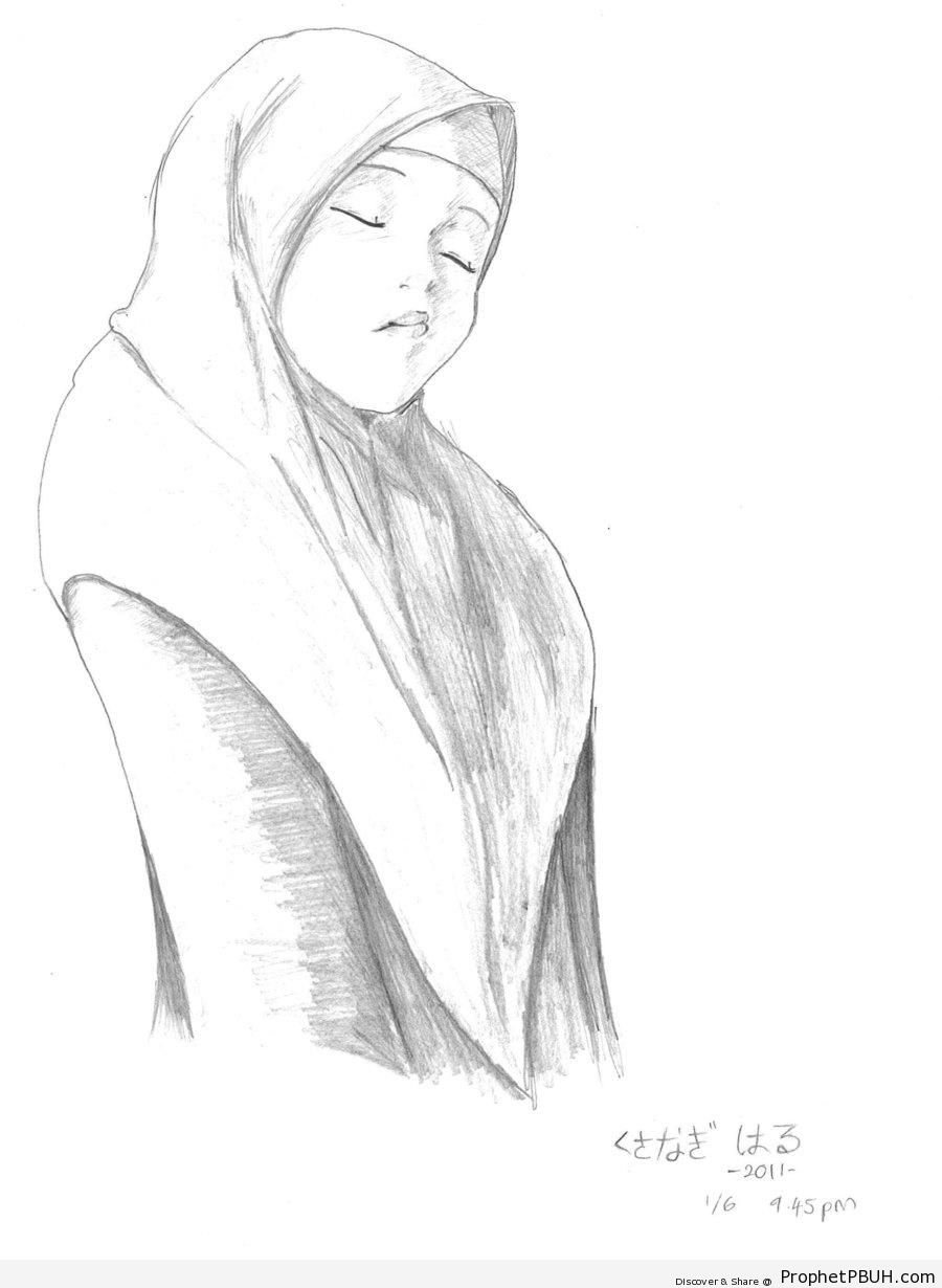 900x1230 Muslim Girl Pencil Drawing – Drawings Prophet PBUH (Peace Be