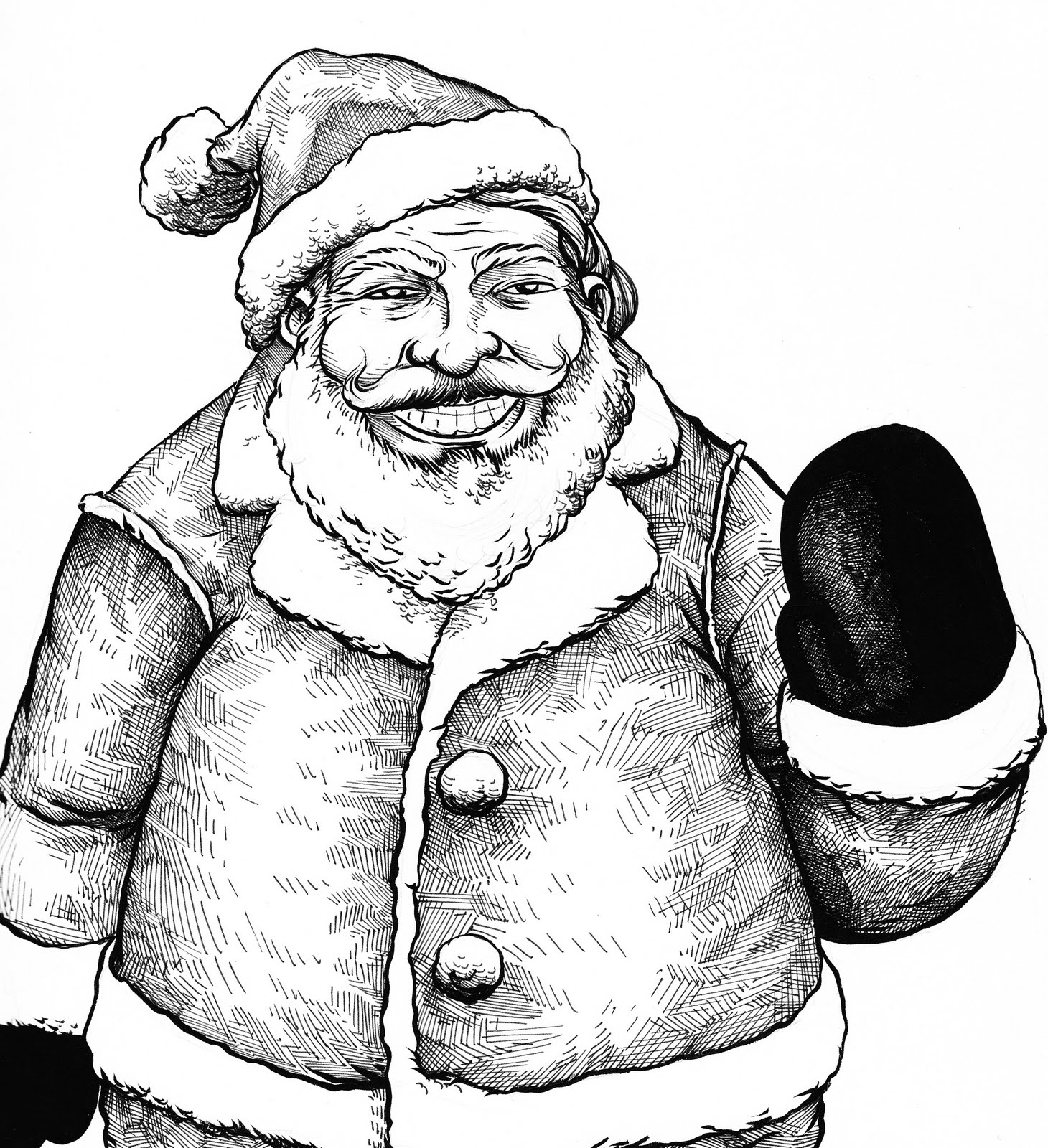 1460x1600 Santa Sketch Pencil Art Drawin