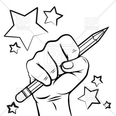 400x400 School Sketch With Hand Pencil And Stars Royalty Free Vector Clip