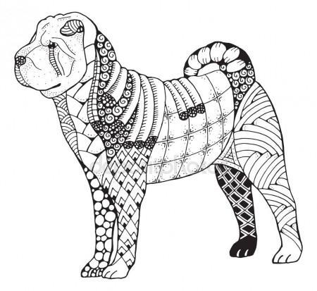 450x413 Shar Pei Dog Zentangle Stylized, Vector, Illustration, Freehand