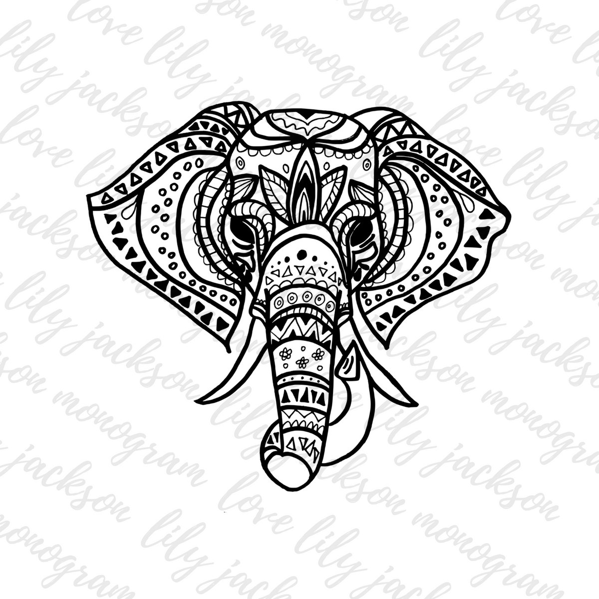 1200x1200 Tribal Elephant Drawing Drawn Elephant Tribal