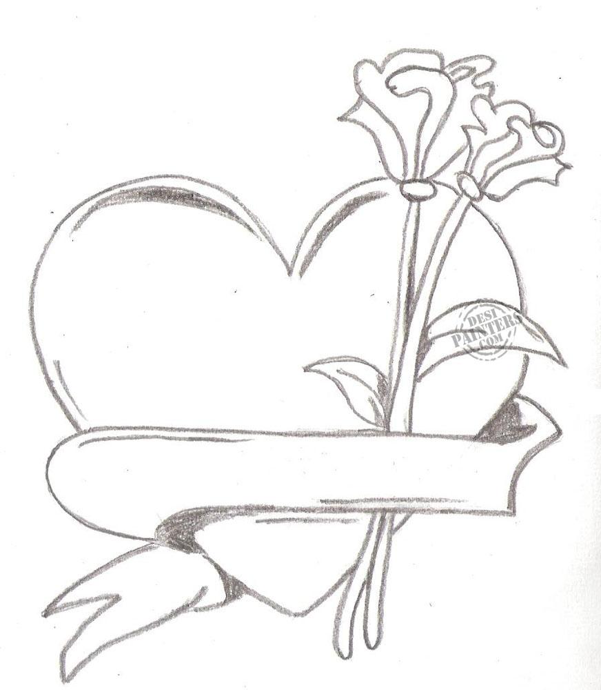872x1000 Pencil Sketch Of Heart Pencil Drawings Heart Drawings In Pencil