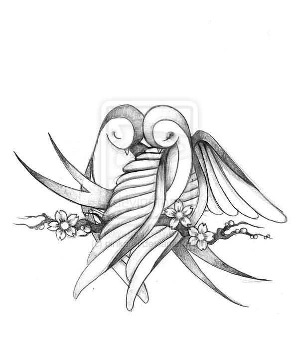 600x681 Love Bird Pencil Drawing