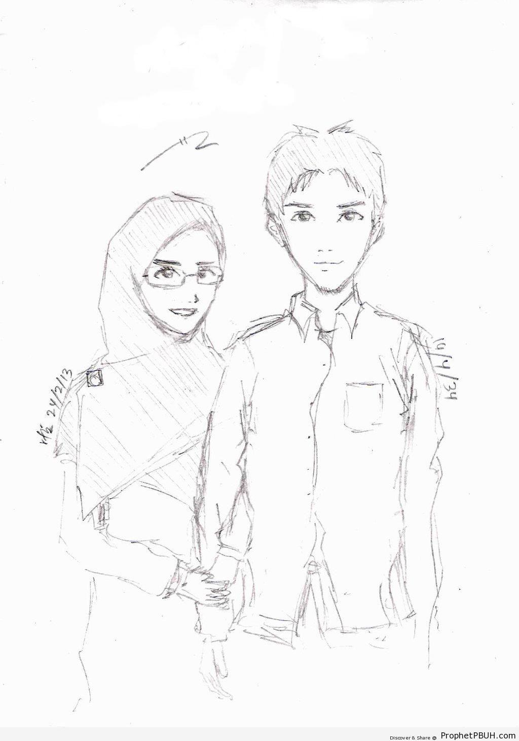 1024x1460 Muslim Couple (Pencil Drawing) Drawings Prophet Pbuh (Peace Be