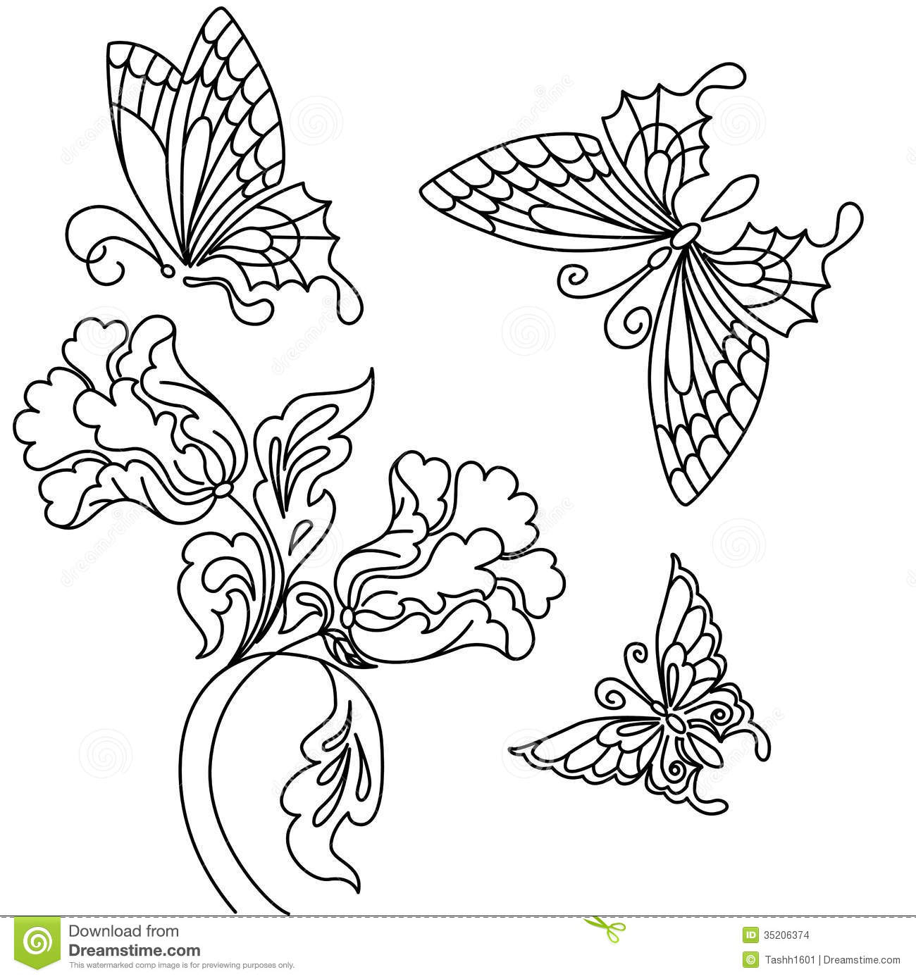 1300x1390 Drawings Of Flowers With Butterflies