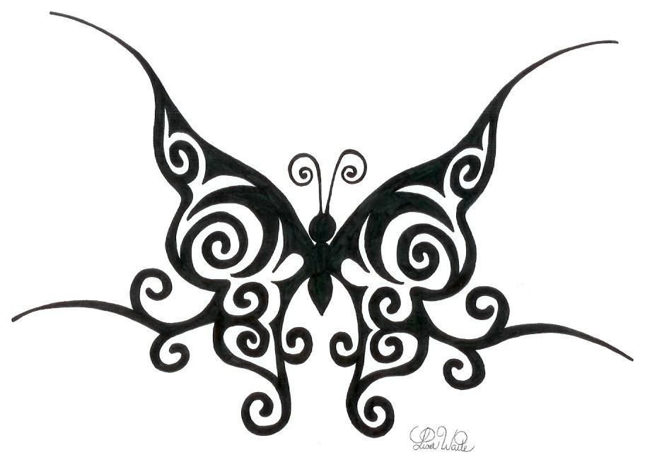 912x644 Drawn Butterfly Tribal Butterfly
