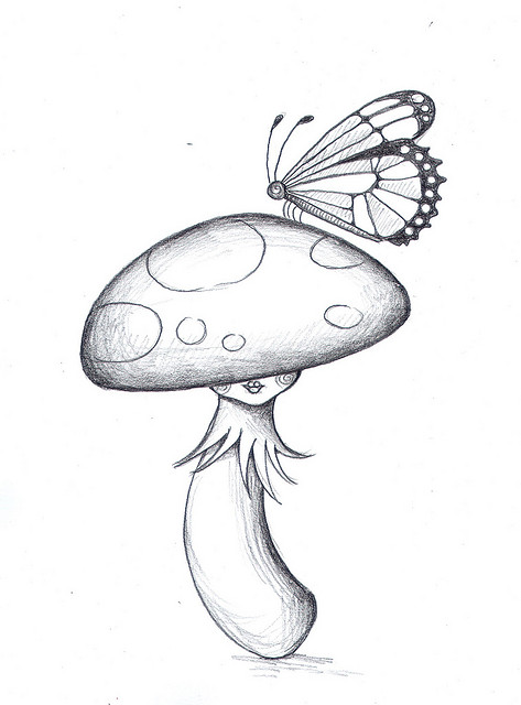 473x640 toadstool butterfly pencil by ickleson, via Flickr Toadstool