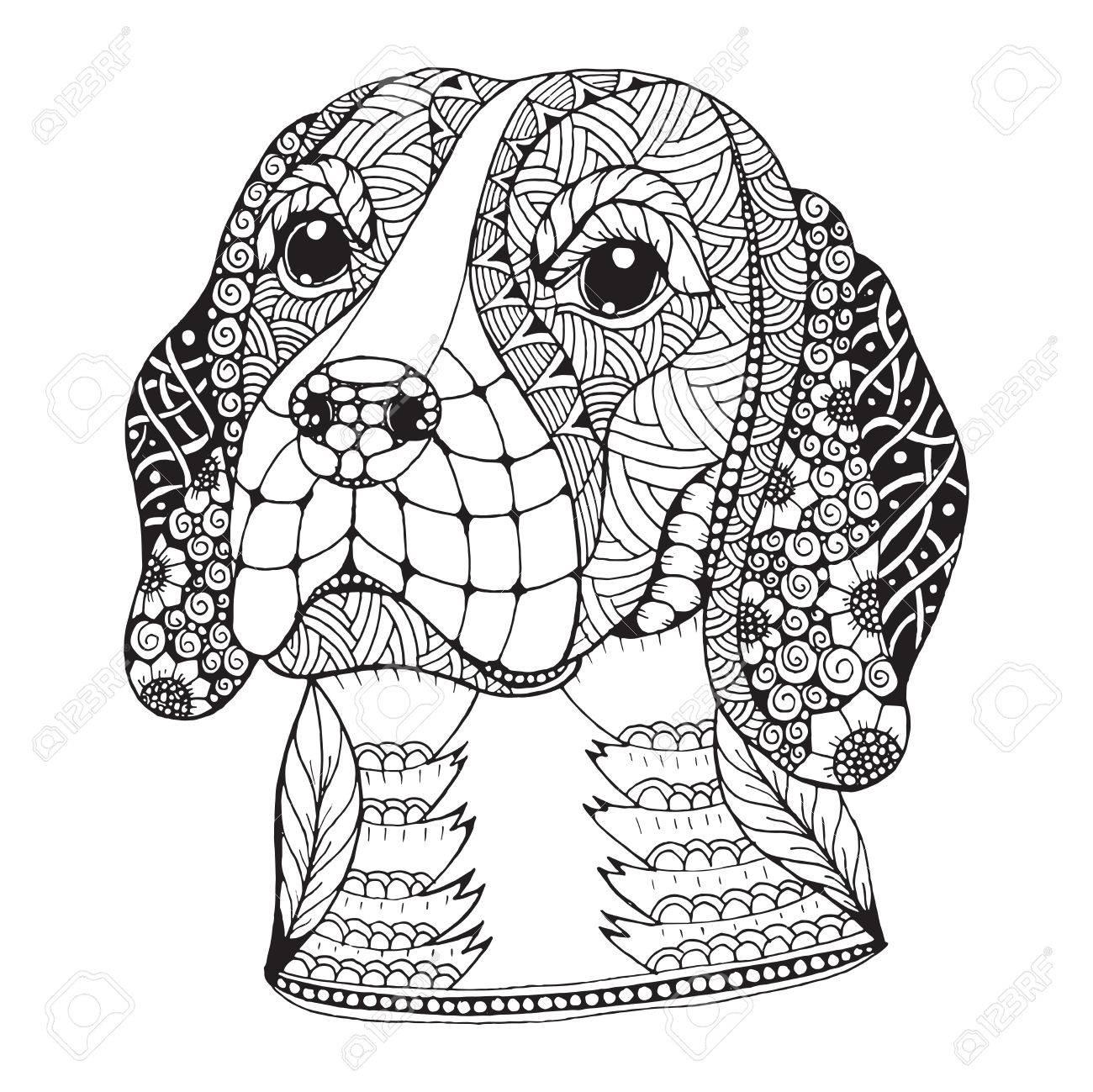 1300x1299 Beagle Dog Head Stylized, Illustration, Freehand Pencil, Hand