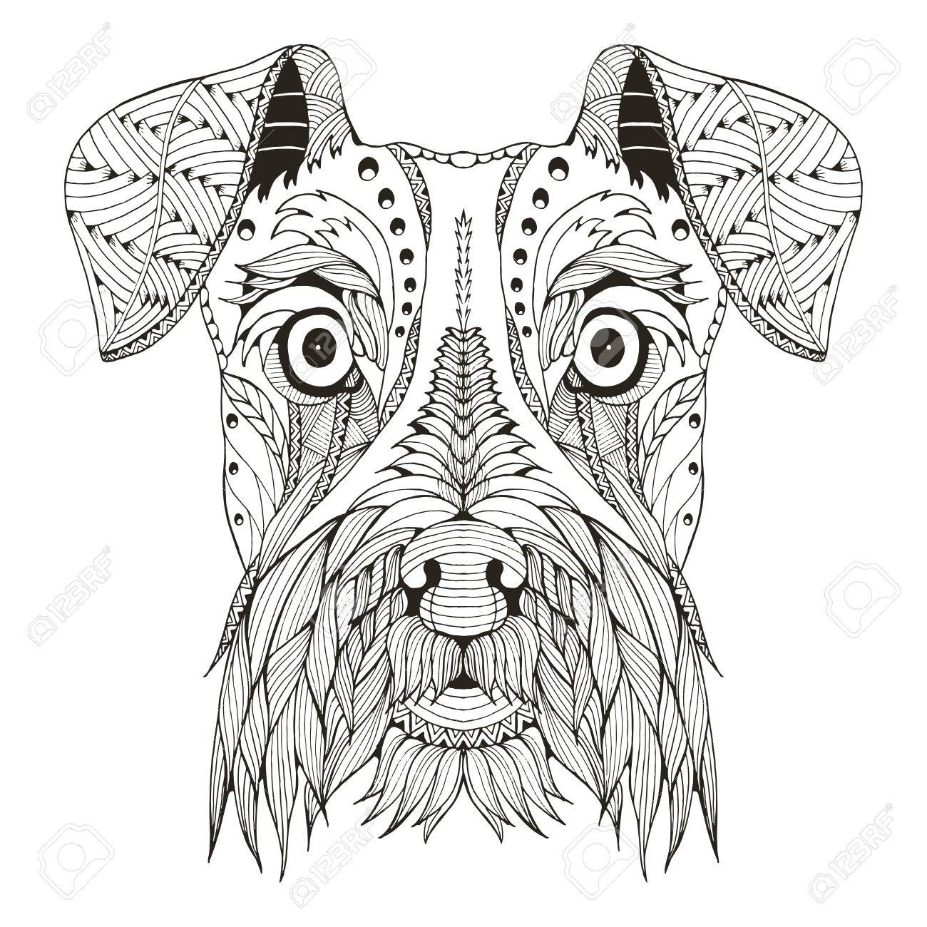 1300x1300 Schnauzer Dog Head Zentangle Stylized, Vector, Illustration