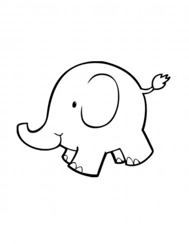 376x486 Baby Elephant Outline Whit Clipart Ba Pencil And In Color