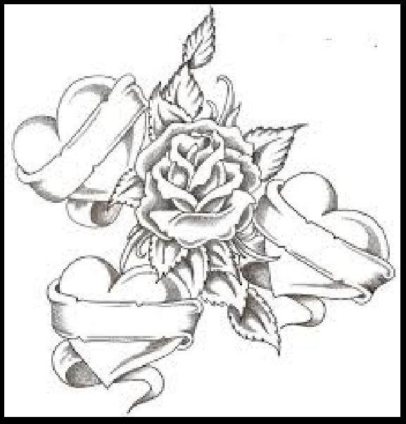 Pencil Drawing Of Hearts And Roses