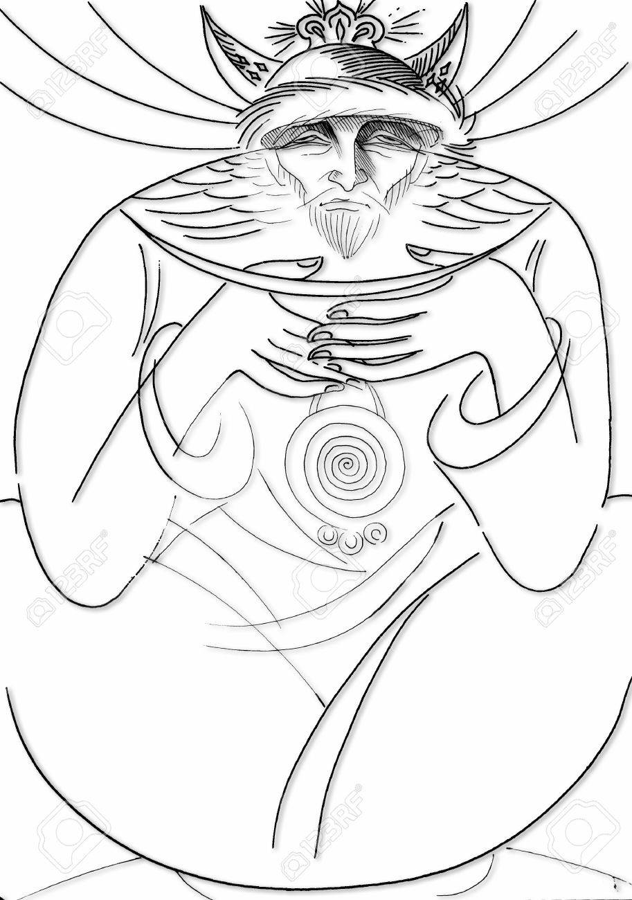 913x1300 Pencil Drawing Paper Moon Guardian. Stock Photo, Picture