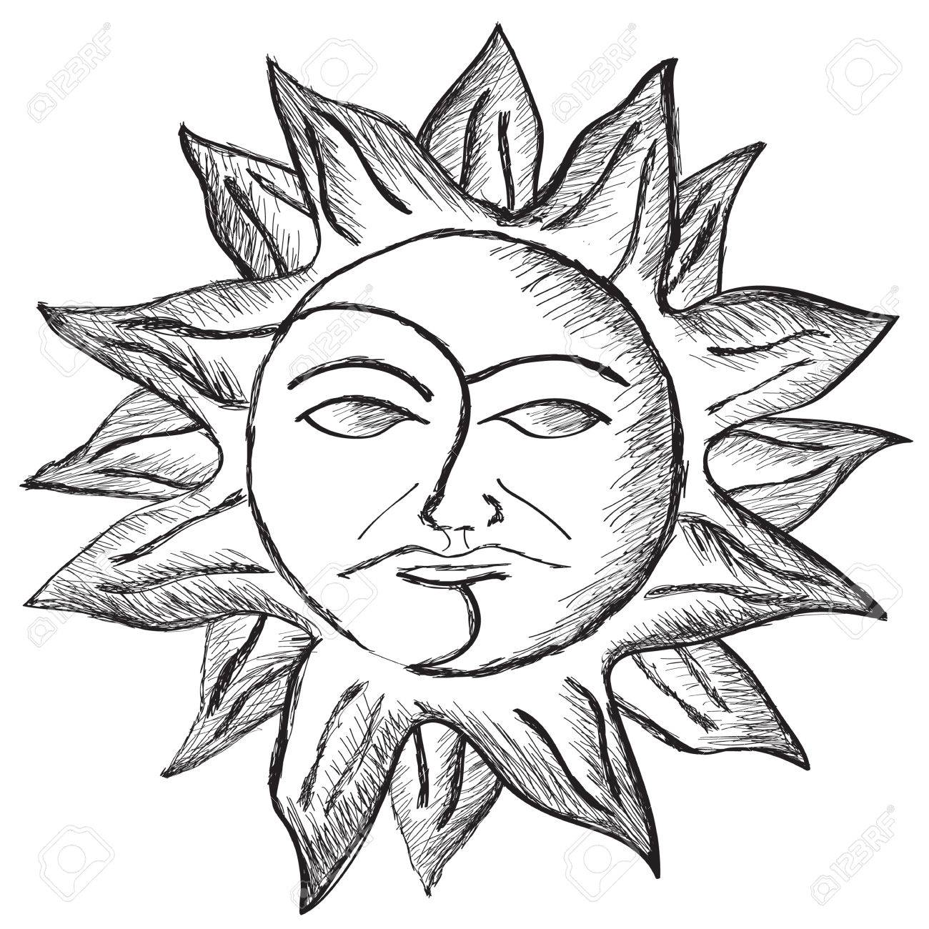 1300x1300 Black And White Pencil Sketch Of Sun And Moon Royalty Free