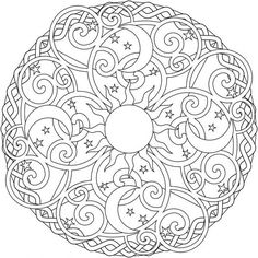 236x236 Sun, Moon And Stars Mandala. Coloring Pages For Grown Ups Slunce