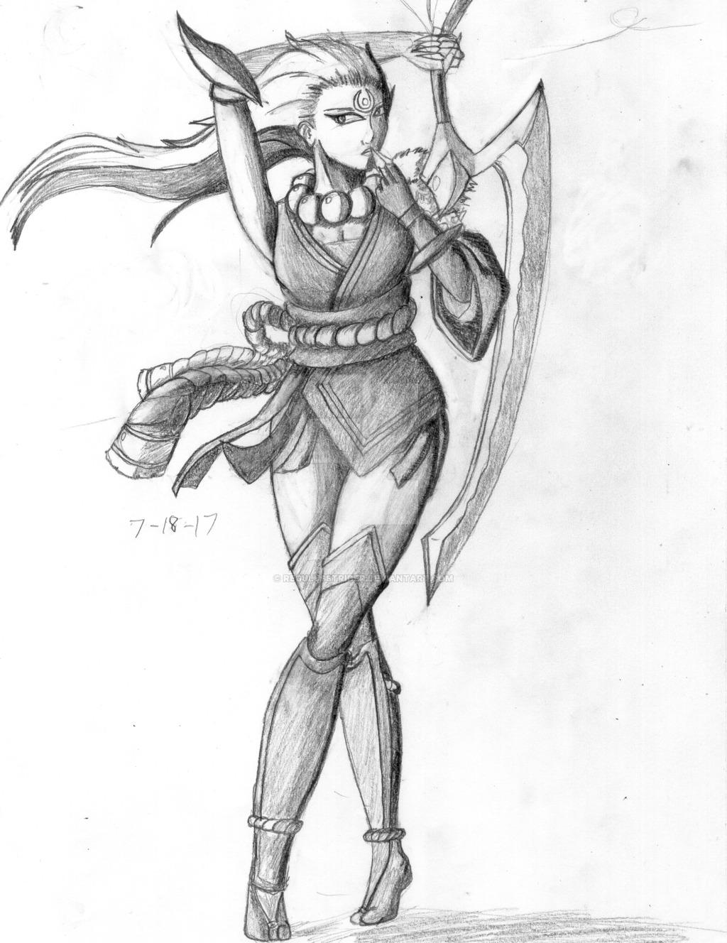 1024x1328 Diana Blood Moon Pencil Sketchdrawing By Regulusstrider