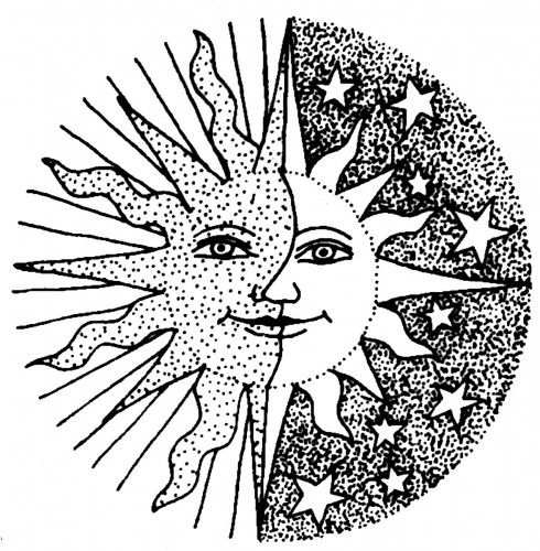 490x500 How To Draw The Sun And Moon Face, Step By Step, Outer Space