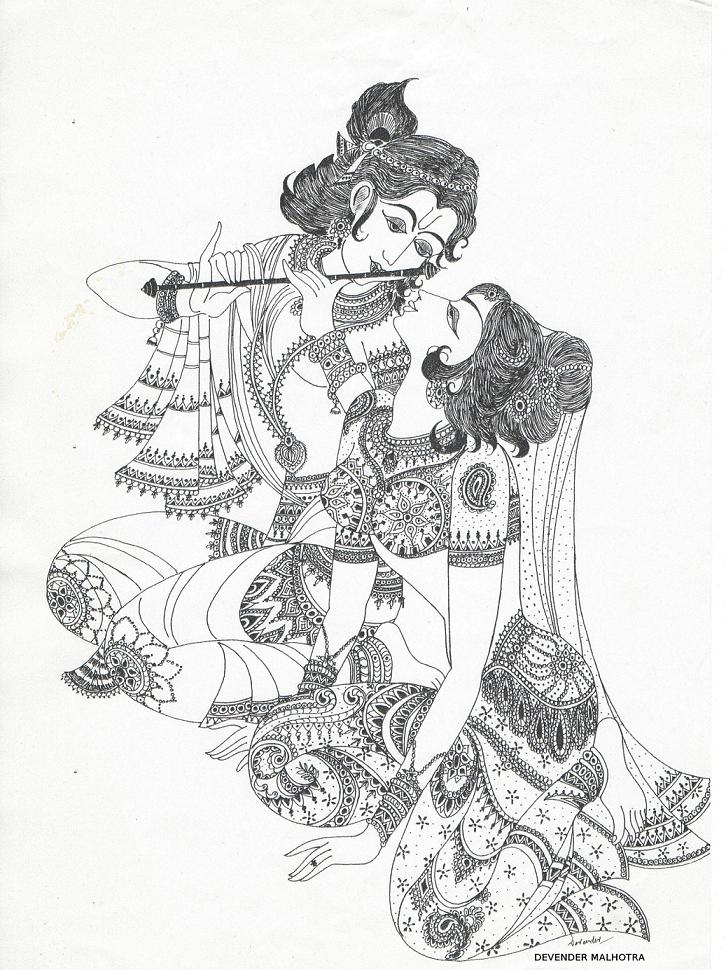 726x970 Radha And Krishna Pencil Sketches A Mythology Blog