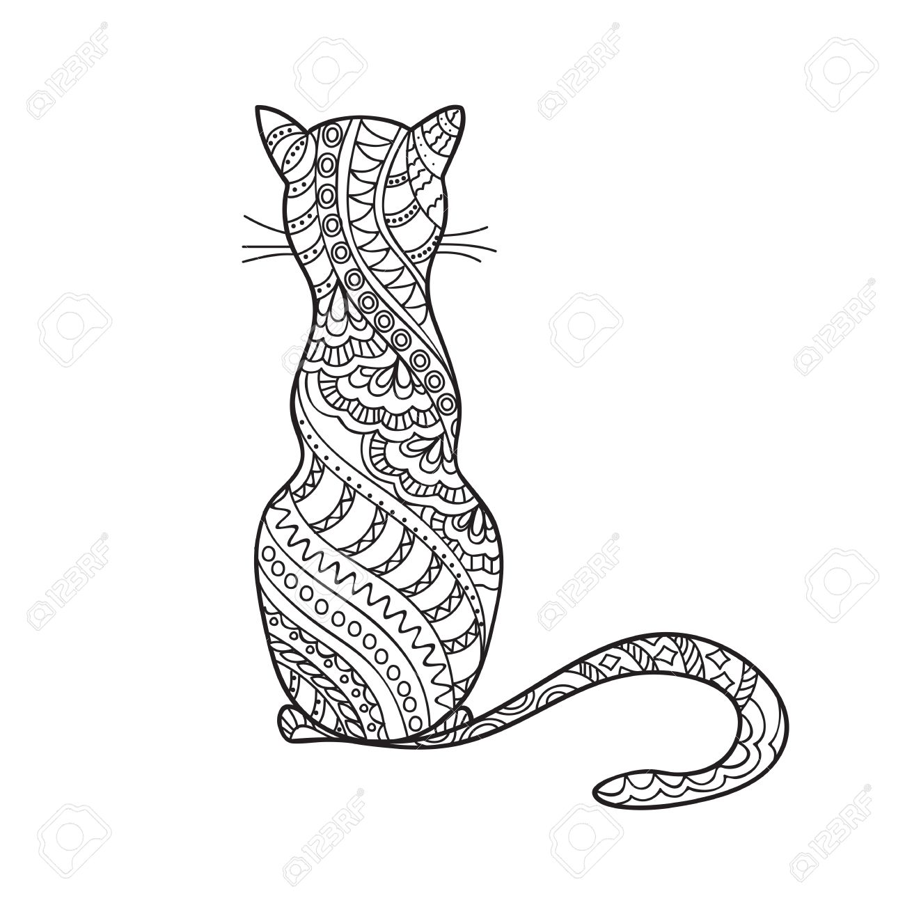 1300x1300 Hand Drawn Decorated Cartoon Cat In Boho Style. Pencil Drawing