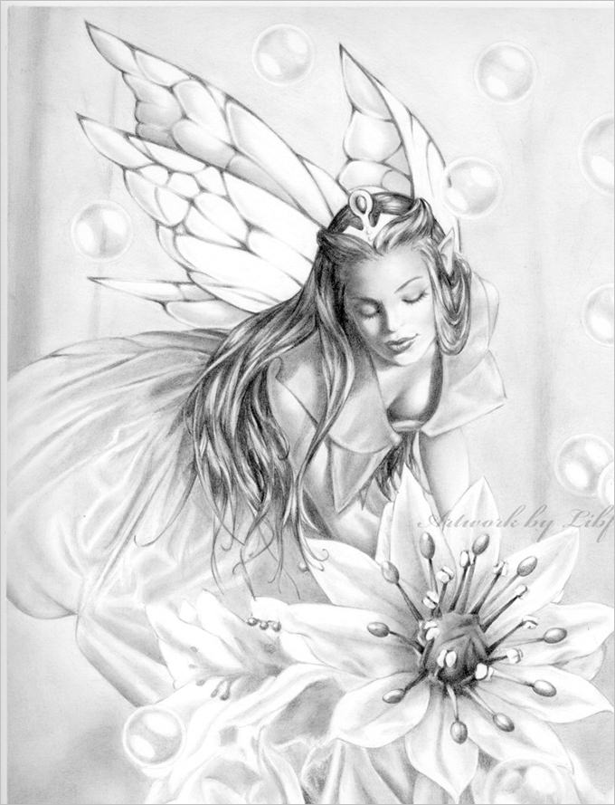 680x889 Pictures Pencil Sketches Of Fairies And Angels,