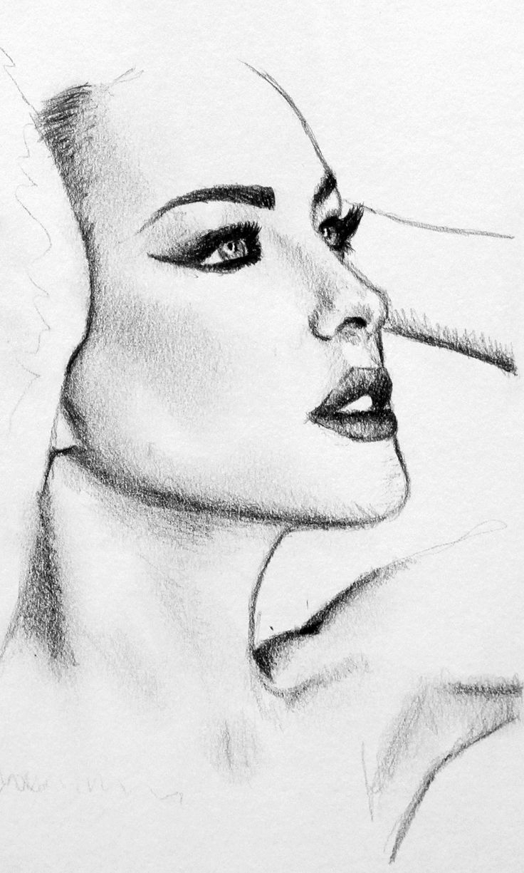 736x1225 Pictures Pencil Sketch Desi Girl Face One Side Photo,