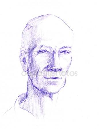 344x450 Drawing Illustration Of Man Face. The Head Of An Adult Is Painted
