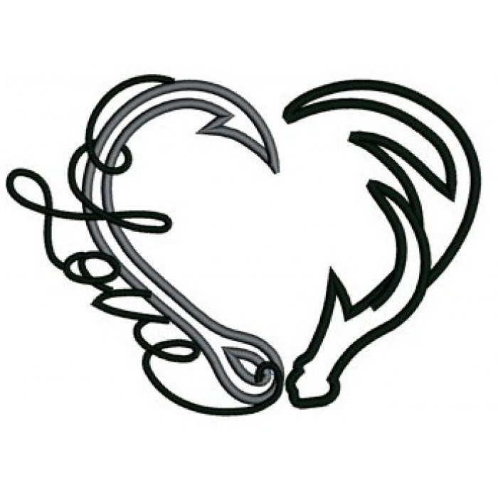 700x700 Fishing Hook Heart Antler Clipart Fishing Hook Pencil And In Color