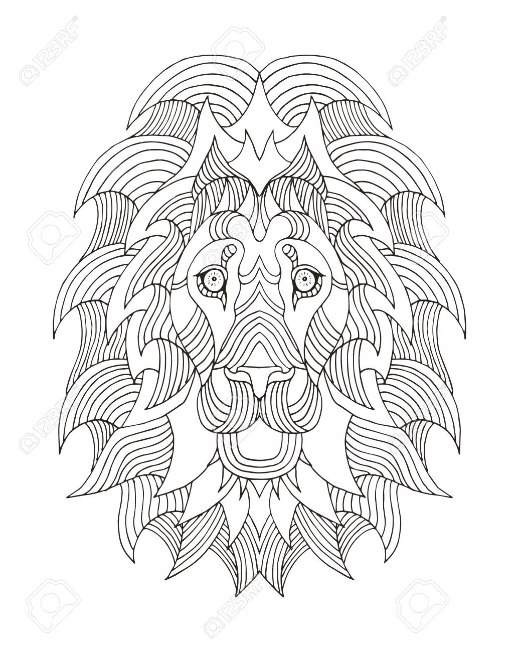 1035x1300 Lion Head Zentangle Stylized, Vector, Illustration, Freehand