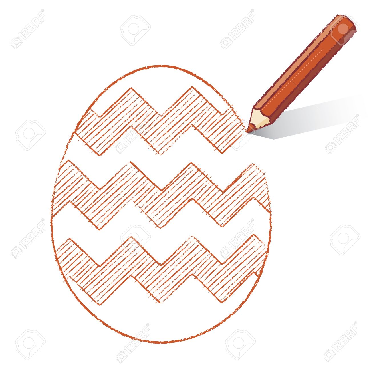 1300x1300 Brown Pencil With Shadow Drawing Easter Egg Plus Zigzag Stripes