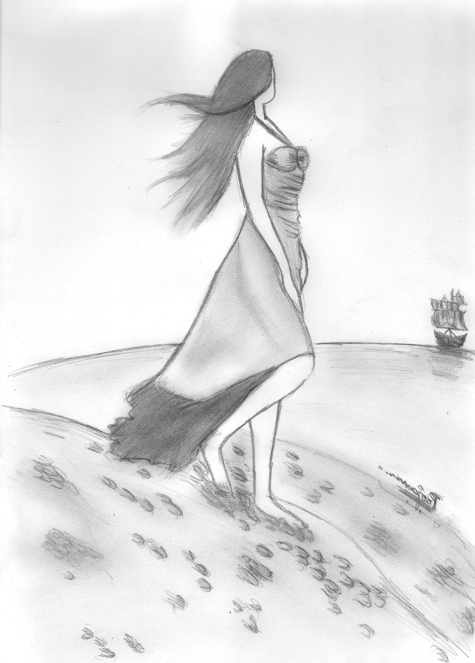 1604x2240 Pencil Sketch Painting Nature Wallpaper Creative Wallpaper 89193