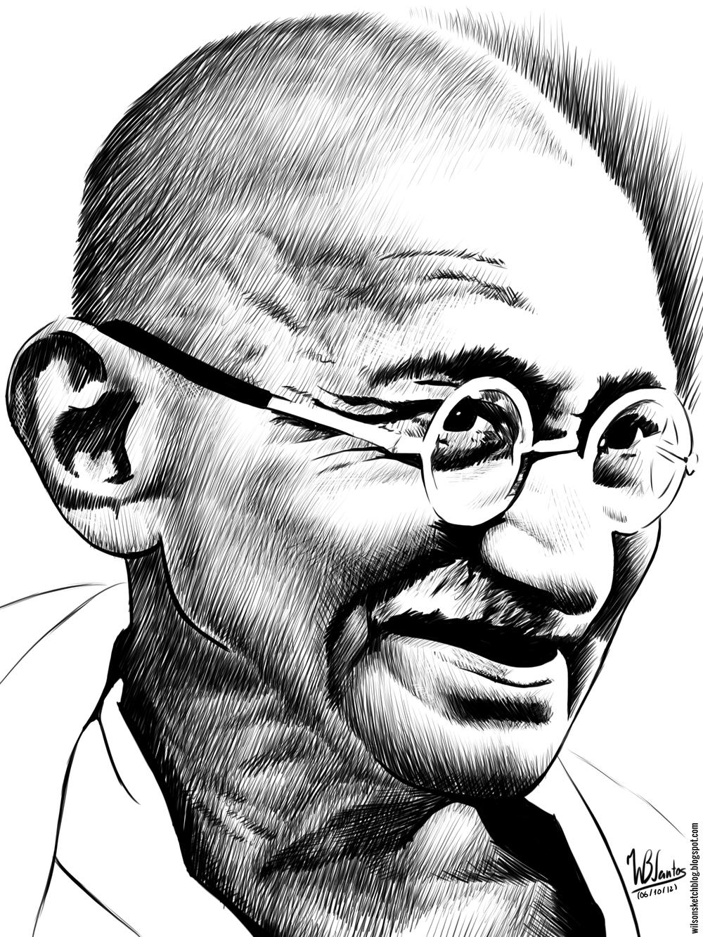 1000x1333 Mahatma Gandhi Pencil Sketches