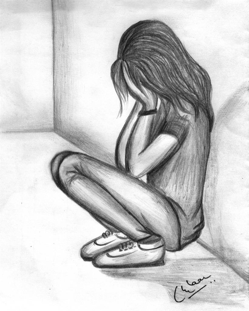 820x1024 Sad Girl Pencil Sketch