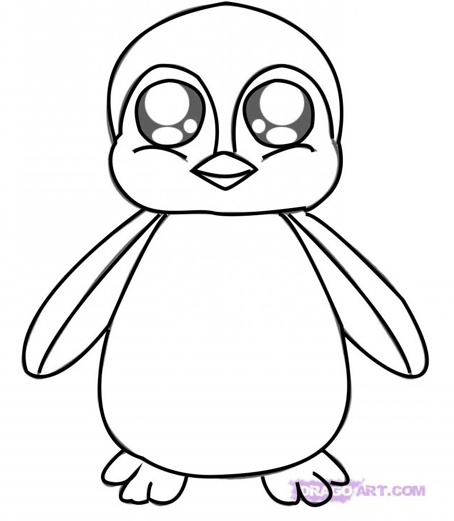 894x1024 Penguin Cartoon Drawing Cartoon Penguin Drawing