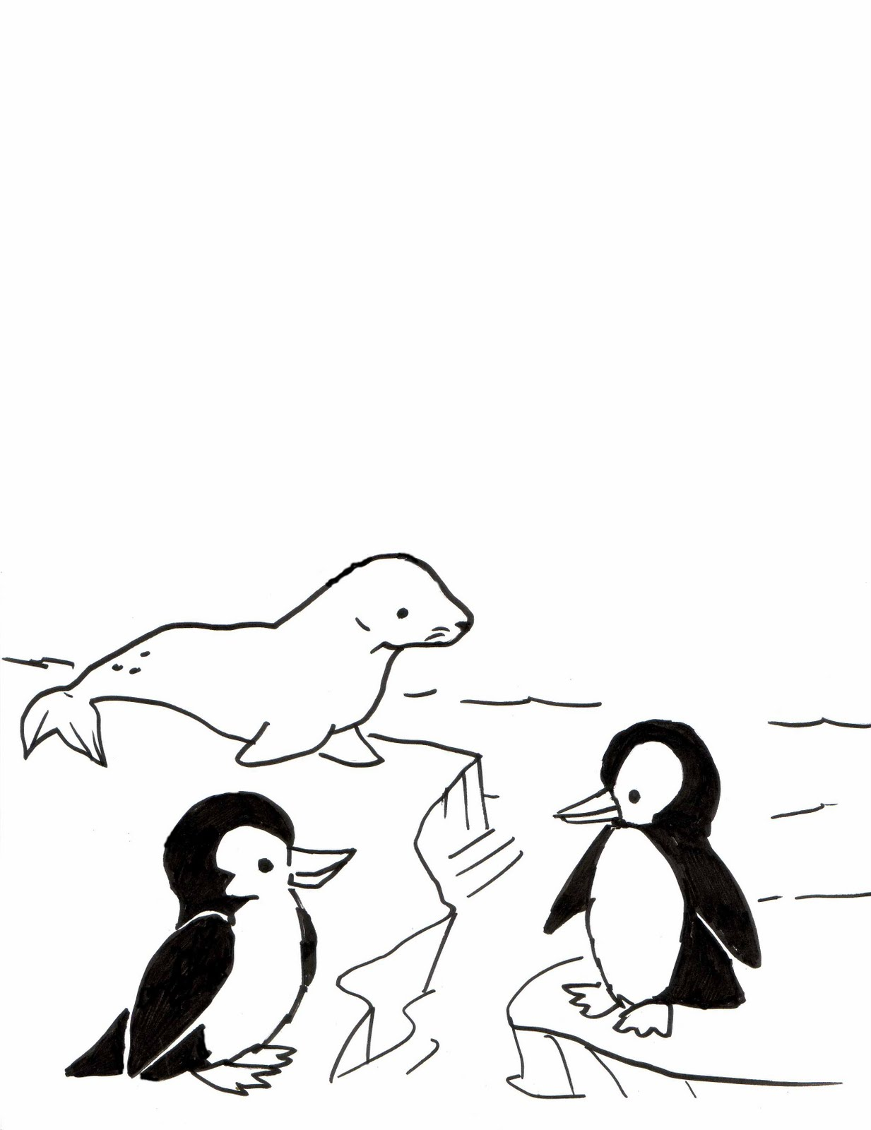 1233x1600 Kid Sketches Penguin And Seal Sketching Activity For Summer Art Camp