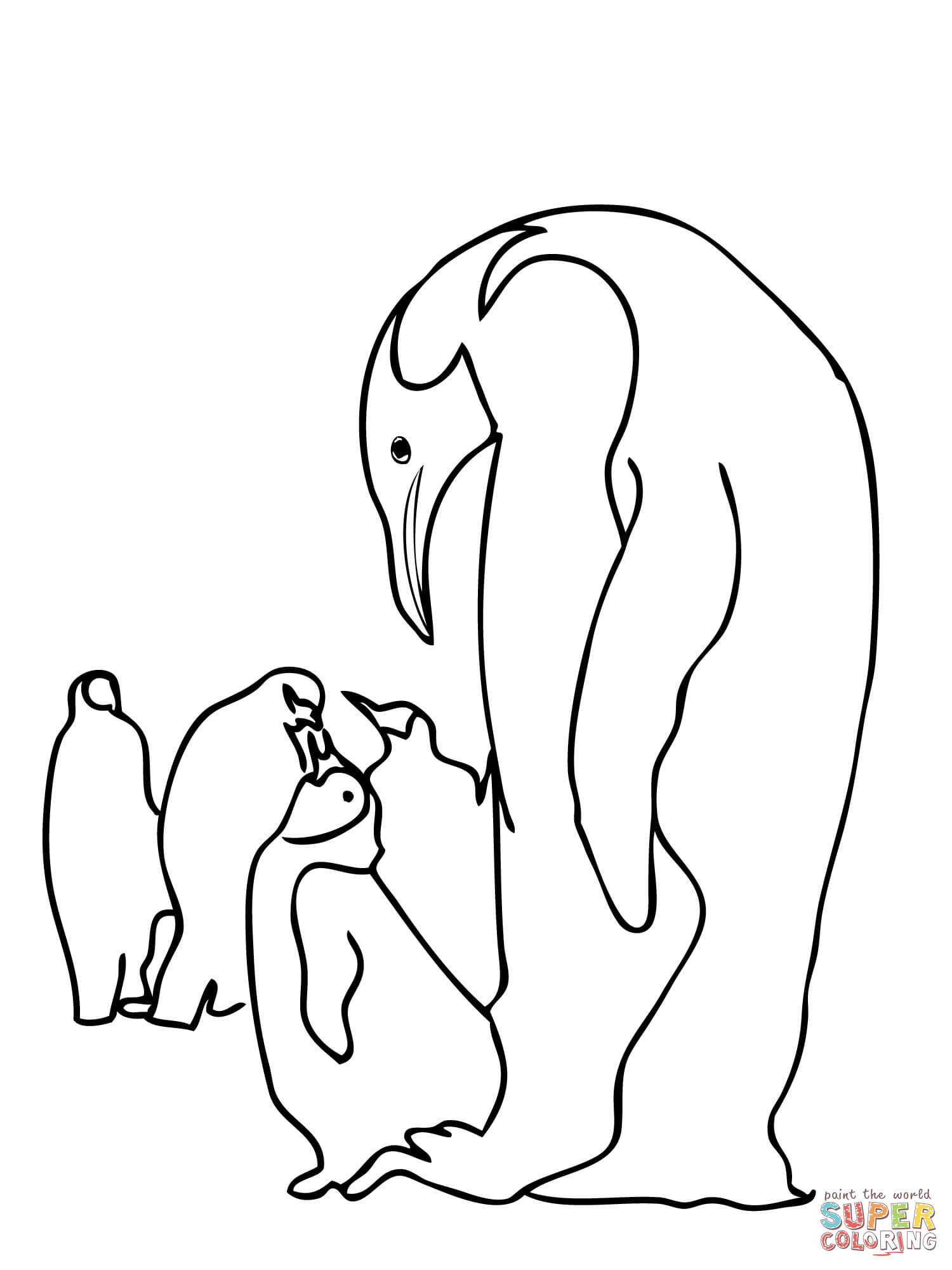 1500x2000 Emperor Penguins Family Coloring Page Free Printable Coloring Pages
