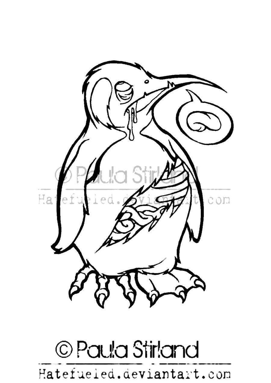 900x1273 Zombie Penguin Lineart By Hatefueled
