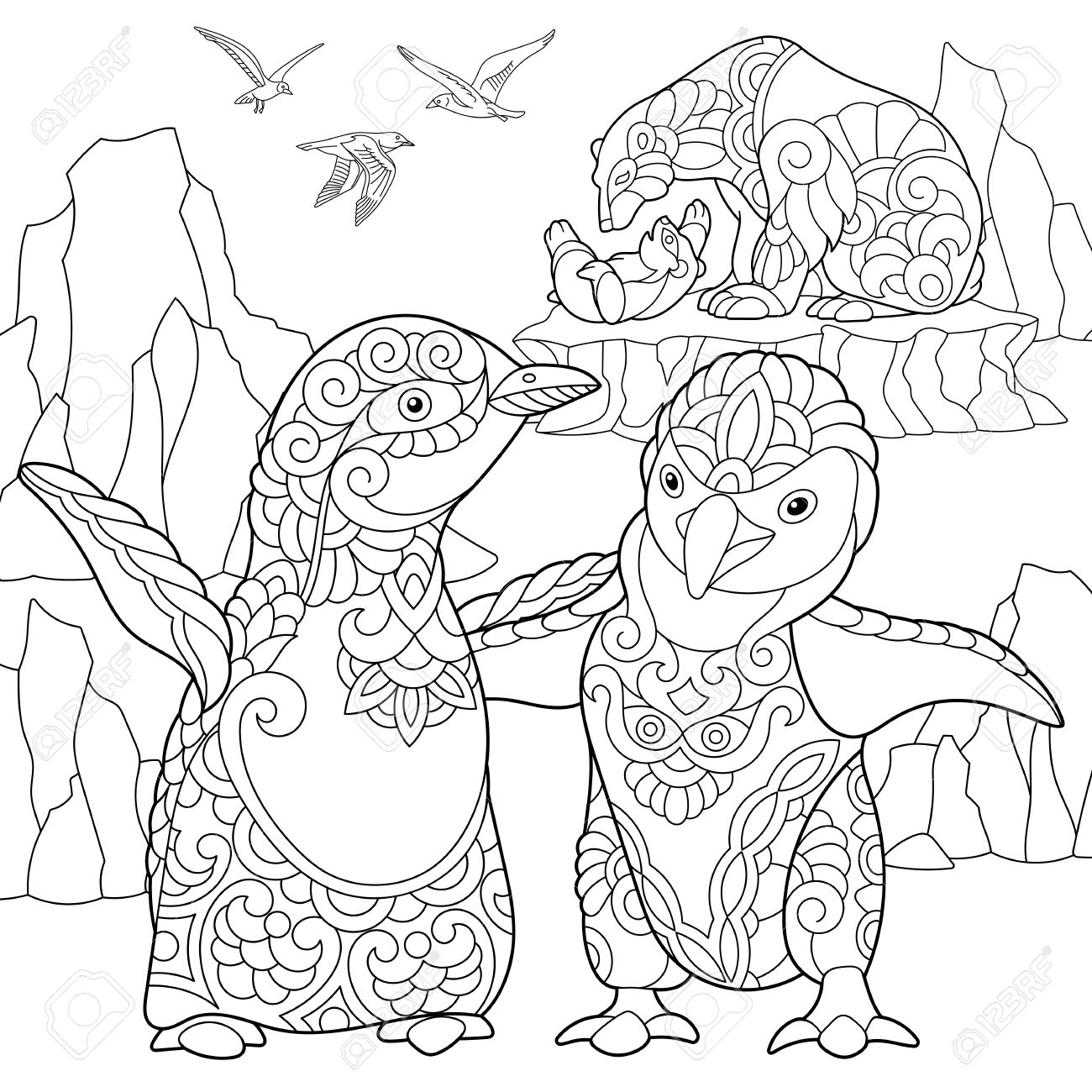 1300x1300 Coloring Page Of Emperor Penguins, Polar Bears And Seagulls