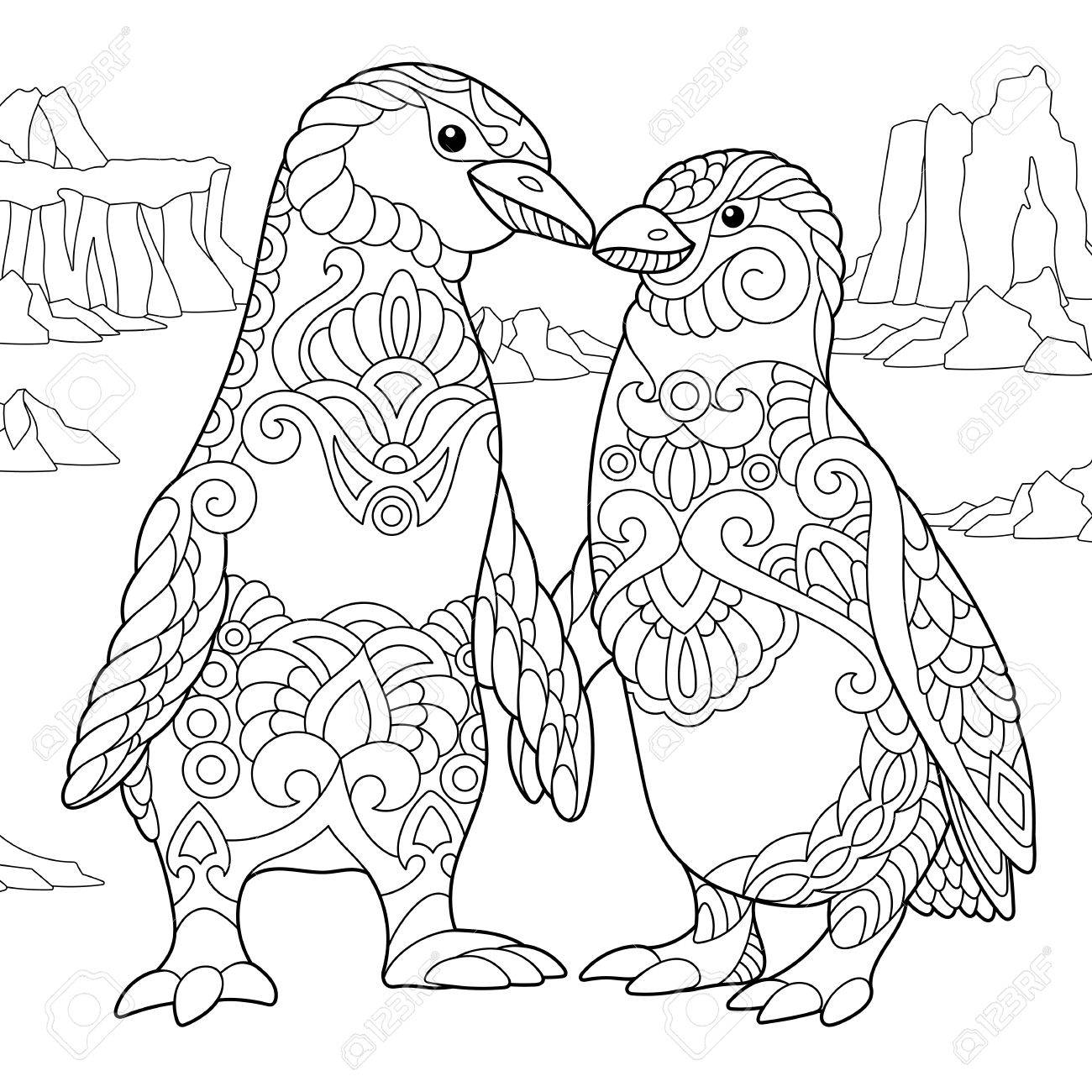 1300x1300 Coloring Page Of Emperor Penguins Couple In Love. Freehand Sketch