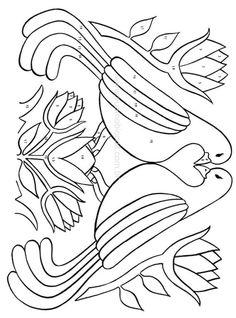 236x318 Pennsylvania Dutch Pattern Applique Love