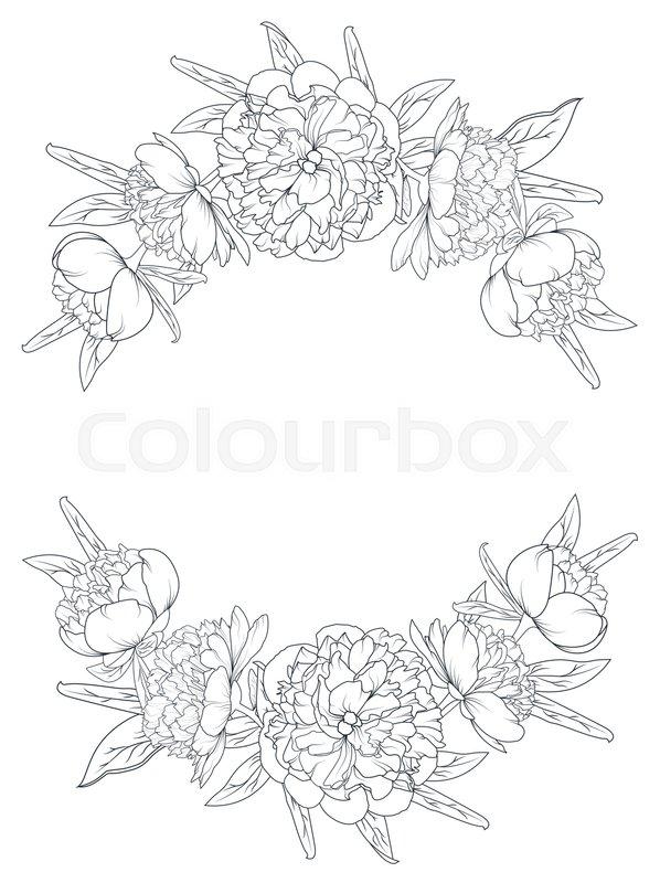 598x800 Spring Summer Peony Rose Blooming Flowers Vintage Border Frame