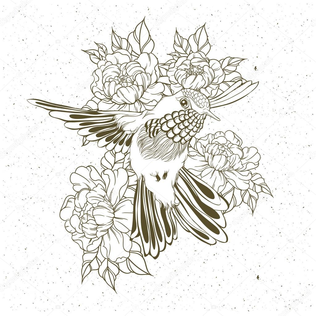 1024x1024 Hand Drawn Flying Humming Bird With Peony Flower. Vector